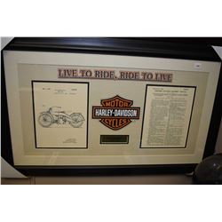 Framed Harley Davidson collage with copies of patent drawing and notes from October 7, 1924