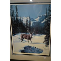 Two framed prints of deer including one signed limited edition pencil signed by John Stone 892/950