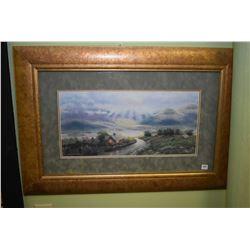 Gilt framed suede matted Kinkade style print