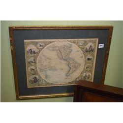 Gilt framed print of the western hemisphere