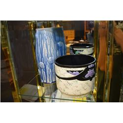 """Mission pottery vase with blue drip glaze 13"""" in height and an antique Czech pottery jardiniŠre"""
