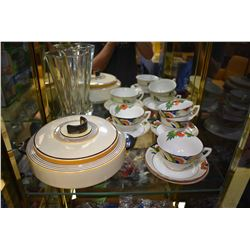 """Four Art deco  hand painted cups and saucers, Art deco vase and a Royal Doulton lidded """"Marquis"""" cov"""