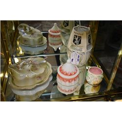 Antique  hand painted cheese keep, milk glass lidded dresser jar, small Majolica pot and an unmarked