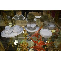 Selection of Nippon china including six cups and saucers, four side plates, nine dessert plates, cre