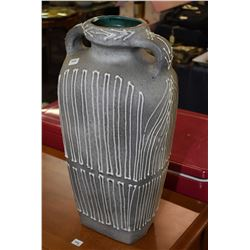 "Double handled ceramic floor vase, note nick on rim, 21"" in height"