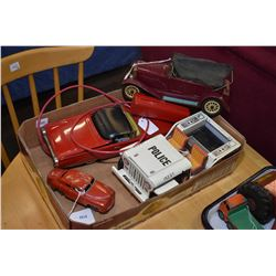 Selection of vintage toys including a remote control convertible T-bird, a Japanese made police jeep