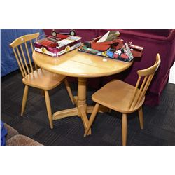 Modern maple drop leaf table and two spindle back chairs