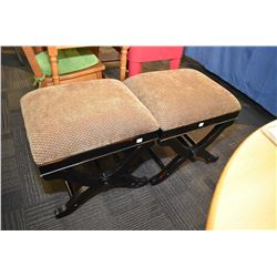 Two matching upholstered benches/stools
