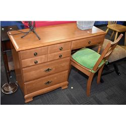 Single pedestal maple desk and chair