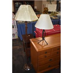Two modern lamps, one floor and one table top
