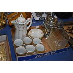 hand painted cocoa pot with six cups and saucers and a silver-plate spooner with twelve sterling sil