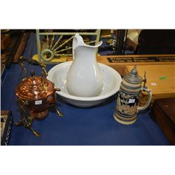 Selection of collectibles including washbowl and water jug made by Tunstall, a German made stein and