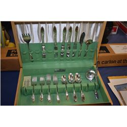 Maple canteen containing partial set of Community Plate flatware in mid century design