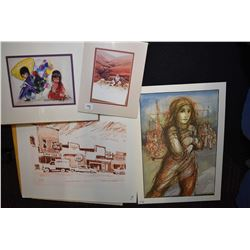 Selection of unframed prints, assorted themes
