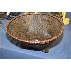 Victorian split bamboo and woven basket with flat base