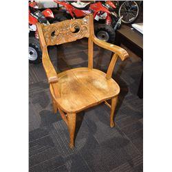 Open arm antique quarter cut oak chair