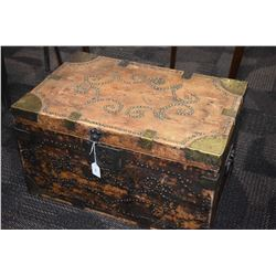 Antique wooden trunk with brass corner and nail head decoration