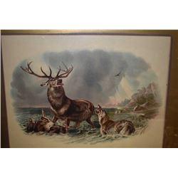 Vintage framed print of a wilderness battle