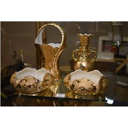 Four pieces of American made porcelain with 24 karat gold plating including two matching bowls, doub