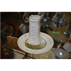 Belleek Thonond Tower and a Belleek plate  hand painted and signed R.B. Higgins