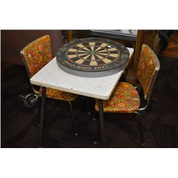 Dufferin dart board and a child's sized vintage arborite table and two chairs