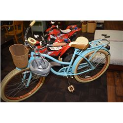 Lady's Huffy single speed powder blue bicycle with basket, rack and helmet, appear virtually unused