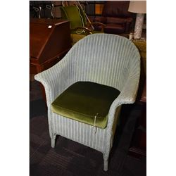 Vintage English Lloyd Loom chair in green finish with reupholstered cushion