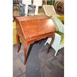 Modern drop front writing desk with fitted interior