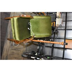 Green upholstered open arm parlour chair and wooden floor lamp