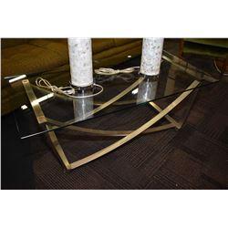 Metal based glass top coffee table