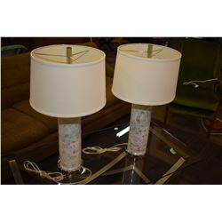 Two mosaic tiled table lamps with shades