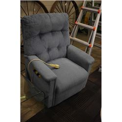 Blue upholstered power lift chair with vibration