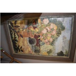 Gilt framed decor picture of a courtyard floral scene