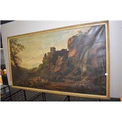 Antique gilt framed picture of a hilltop castle
