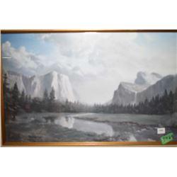 Framed print of a mountain scene