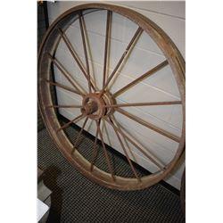 "Vintage 49"" metal wagon wheel"
