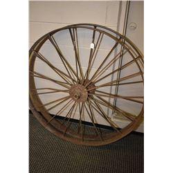 "Two vintage 48"" metal wagon wheels"