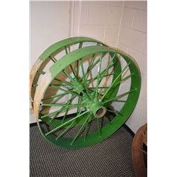 "Two vintage 44"" metal wagon wheels"