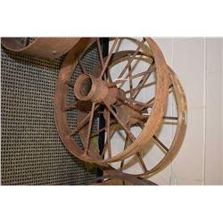 "Two vintage metal 29"" wagon wheels"