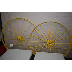 """Two vintage metal wagon wheels including 50"""" and a 53"""""""