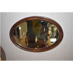 "Oak framed bevelled wall mirror, 31"" X 21"""