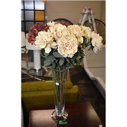 """20"""" high glass flower vase with faux flowers"""