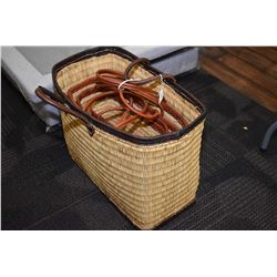 Three woven Moroccan shopping bags in graduated sizes