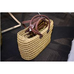 Four woven Moroccan shopping bags in graduated sizes