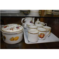 Selection of Bavarian china including coffee pot, cups, cream, sugar, snack tray and snack plates pl