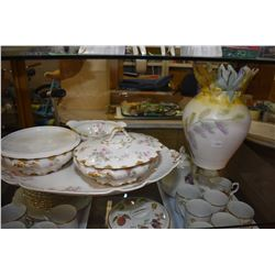 Four pieces of Limoges china including platter, two lidded vegetable dishes plus a ceramic  hand pai
