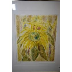 "Framed original watercolour painting titled ""Sunflower Studio No.2"" signed by artist S. A. Moss, 12"""