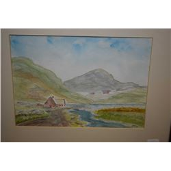 Framed original watercolour painting of a mountainscape with cottage initialled by artist S.A.M., 8""