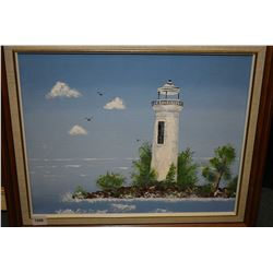 "Framed acrylic on board painting of a lighthouse artist name on verso Stall, 11"" X 14"""