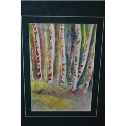 "Framed original watercolour painting of birch trees signed by artist Moss (?) 10"" X 7"""